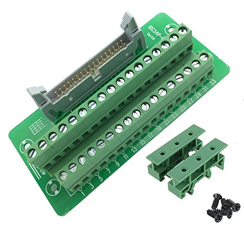 (Sysly IDC34 2x17 Pins Male Header Breakout Board Terminal Block Connector with Simple DIN Rail Mounting)