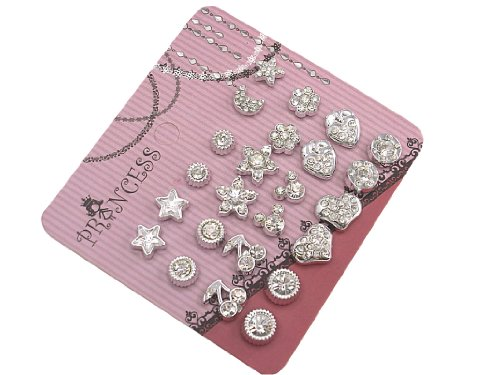 Pack of 12 Clear Crystal Cute Magnetic Stud Earrings for Girls Kids [C]]()