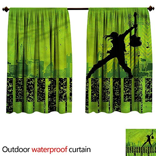 BlountDecor Sun Block Outdoor curtainAnti-Water W120 x L72(305cm x 192cm) Popstar Party,Music in The City