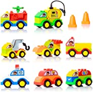 Large Building Blocks for Toddlers, 48 Pieces Building Bricks Building Toy Cars Set with 8 Mini Vehicles Early