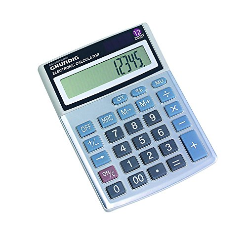 Grundig 46663 Professional / Desk Display Calculator, Battery, Solar Energy Driven, Tilted Display