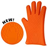Image of Silicone BBQ & Oven Gloves - 2 Top Quality Heat & Water Resistant Cooking Gloves - Protective Outdoor Grilling Mitts - Campfire Gloves in Flaming Orange