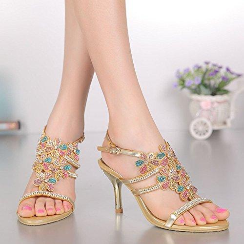 à Femmes de Mariage Grande de Sandales Nouveau Diamant Cour Hauts xie Chaussures Talons Strass Sandales Soirée Rq1nXC
