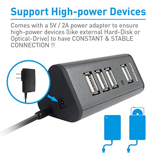 Macally 4 Port Powered USB 2.0 Hub with 5V 2A Power Adapter & 5 foot long Cable (TriHub4) by Macally (Image #3)