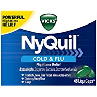 Vicks NyQuil Cough Cold and Flu Nighttime Relief, 48 LiquiCaps
