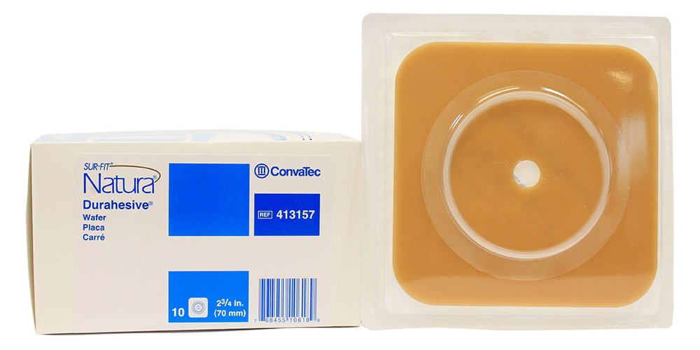 SUR-FIT Natura Two-Piece Durahesive Skin Barrier, 70 mm Flange, Box of 10 by ConvaTec