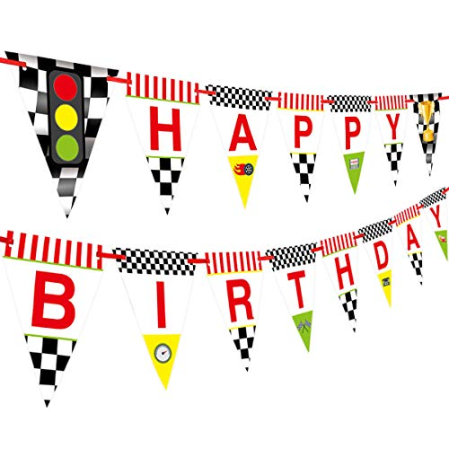 Race Car Happy Birthday Banner for Kids Party Decoration Supplies Pennant -
