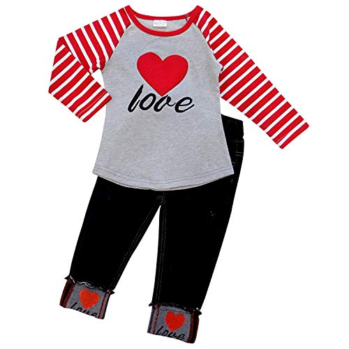 So Sydney Toddler Girls 2 Pc Valentine's Day Love Heart Print Ruffle Outfit (S (3T), Heart Stripe Denim)