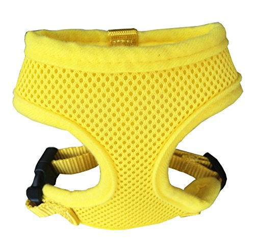 FUNPET Soft Mesh Dog Harness No Pull Comfort Padded Vest for Small Pet Cat and Puppy Yellow S (Dog Yellow Harness)