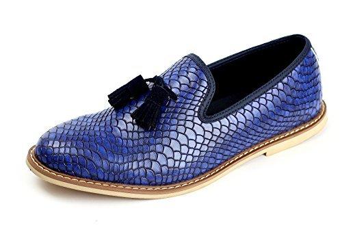 HOMBRE DE PIEL SIN CIERRES Borla Zapatos Estilo Informal Italiano Moderno Piel De Serpiente - Azul, 43: Amazon.es: Zapatos y complementos