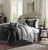 Madison Park Amherst Cal King Size Bed Comforter Set Bed In A Bag - Black, Grey, Pieced Stripes – 7 Pieces Bedding Sets – Ultra Soft Microfiber Bedroom Comforters