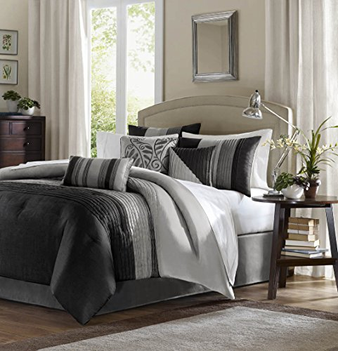 Madison Park Amherst Full Size Bed Comforter Set Bed In A Bag – Black, Grey, Pieced Stripes – 7 Pieces Bedding Sets – Ultra Soft Microfiber Bedroom Comforters