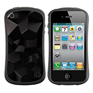 Fuerte Suave TPU GEL Caso Carcasa de Protección Funda para Apple Iphone 4 / 4S / Business Style Black Reflective 3D Gray