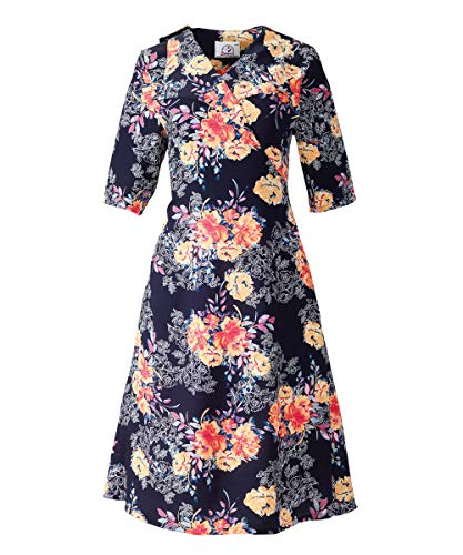 Womens Wheelchair Dresses Spring Summer Snap Back Dresses - Navy/Coral SMA