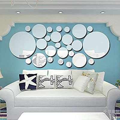 Whitelotous Acrylic Silver 3D Mirror Wall Stickers Removable Crystal Decals Fashion DIY Decals Art Sticker Bedroom Decor (26pcs Round): Home & Kitchen