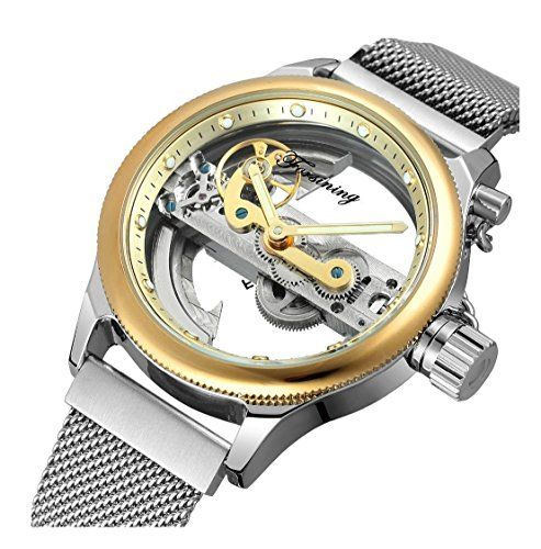 (Unique Mens Automatic Watch Transparent Watch Dial Hollow Skeleton Silver Tone Mesh Band Watch (Gold White))