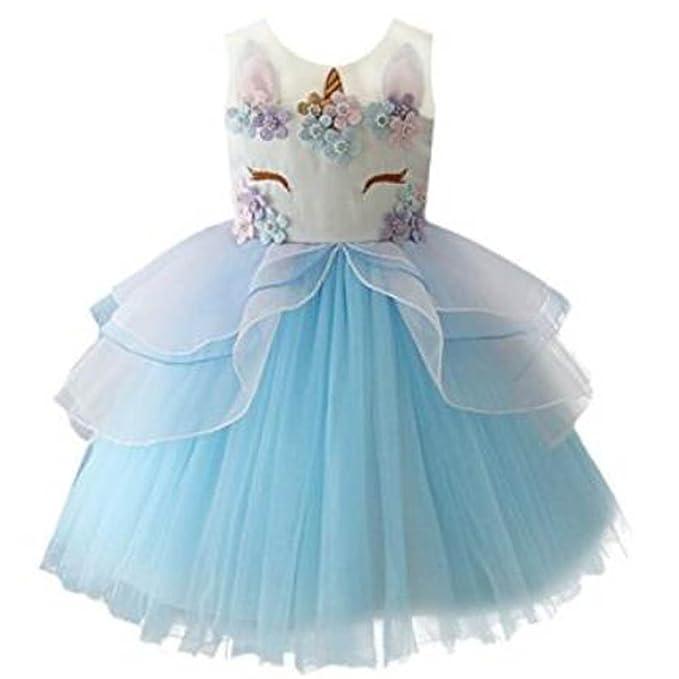 Vestido de unicornio de las muchachas Vestido de tul de tutú, bolas de princesa Perlas
