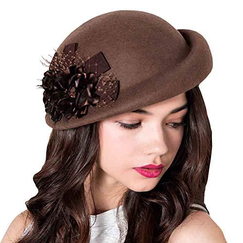 Hat Wool Lace - Maitose Women's Lace Flower Wool Beret Cap Camel