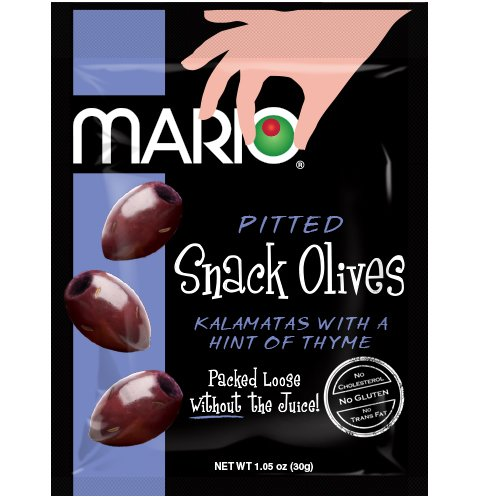 Mario Camacho Foods Pitted Snack Olives, Kalamata with a Hint of Thyme, 1.05 Ounce (Pack of 12)