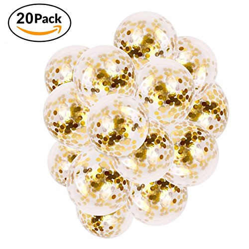 """saluty Gold Confetti Balloons Clear Latex Birthday Balloons 12"""" Round, Multicolor Confetti Filled Balloons for Baby Shower, Wedding and Festival Holiday Decorations, Pack of (Winter Wonderland Christmas Theme)"""