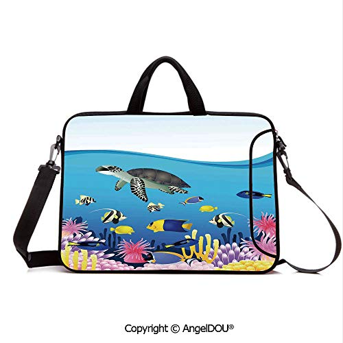 AngelDOU Neoprene Laptop Shoulder Bag Case Sleeve with Handle and Extra Pocket Illustration of Sea Anemone Turtles Goldfish Snorkel Tropical Seascape Cartoon Compatible with MacBook/Ultrabook/HP/Ace