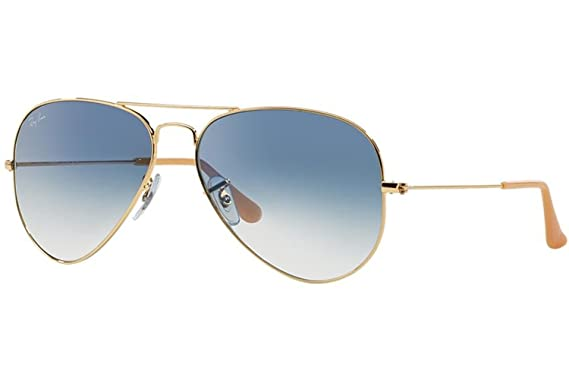 3a13098e5 Amazon.com: Ray-Ban RB3025 Aviator Sunglasses Arista Gold w/Blue ...