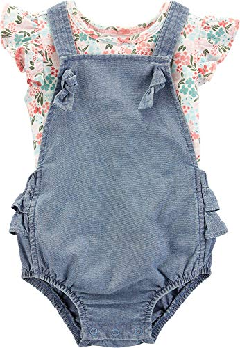 Carter's Baby Girls Floral Chambray Bubble Romper Set 6 Months Denim ()