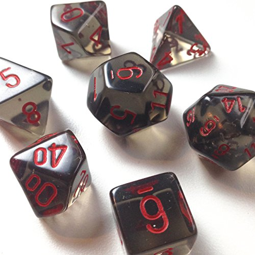 Custom & Unique {Standard Medium} 7 Ct Pack Set of [D4, D6, D8, D10, D12, D20] Assorted Polyhedral Shapes See-Through Numbered Playing & Game Dice w/ Lava Smoke Design [Gray & Red Colored] w/ Bag