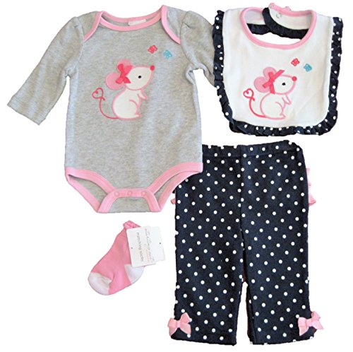 Girl Needlepoint (Starting Out Baby Girl Four Piece Layette Set, Grey and Pink With Needlepoint Mouse, 3M)