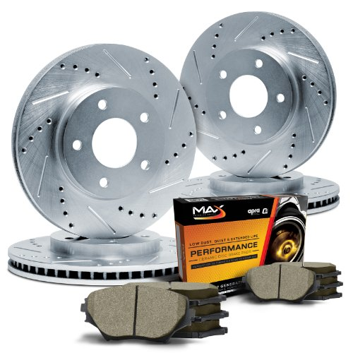 Max KT080613 Front + Rear Silver Slotted & Cross Drilled Rotors and Ceramic Pads Combo Brake Kit