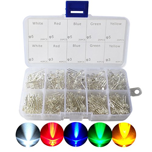 LED Diode, CO RODE 3mm 5mm LED Lights Emitting Diodes Assorted Clear Bulbs Kit with (Bright White Red Blue Green Yellow LED, (3mm Yellow Led)