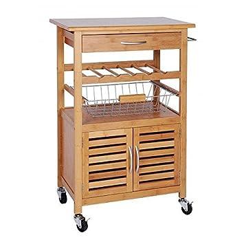 holz küchenwagen küchentrolley bambus servierwagen beistellwagen ... - Rollwagen Für Küche
