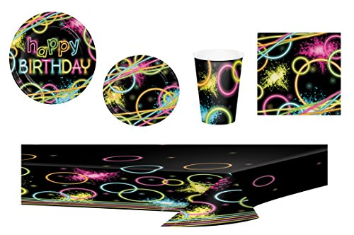 Glow Party Supplies Bundle for 16: Includes Large