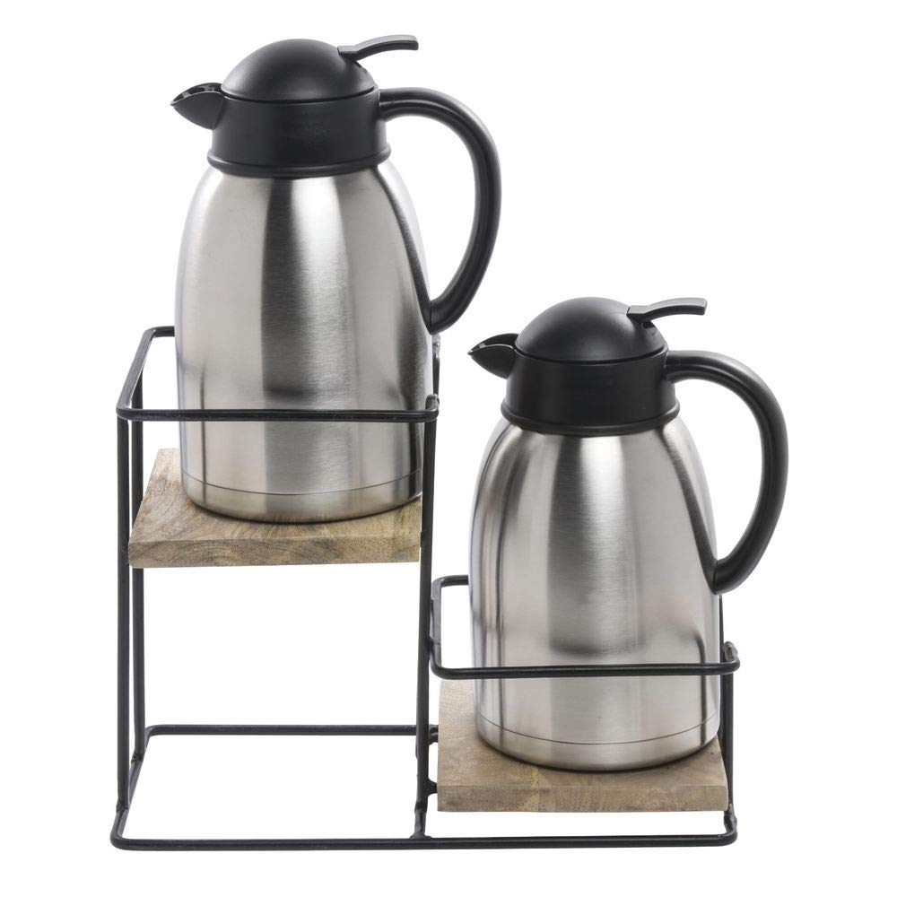 6 3//4W x 9 7//8D x 13 3//8H Carafe Holder 2-Tier Metal and Mango Wood