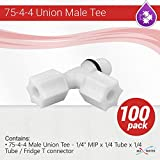 100Pcs 75-4-4 MALE UNION TEE 1/4'' MIP x 1/4 Tube x 1/4 Tube/Fridge T Connector