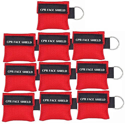 (LSIKA-Z 10pcs CPR Face Shield Mask Keychain Keying CPR Face Shields Pocket Mask (Red-10))