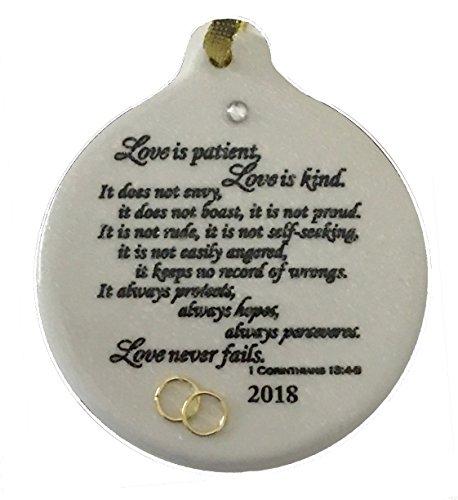 Corinthians 13.4 Love Is Patient 2018 Wedding Anniversary Porcelain Ornament Christmas Rhinestone Detail Gift Boxed