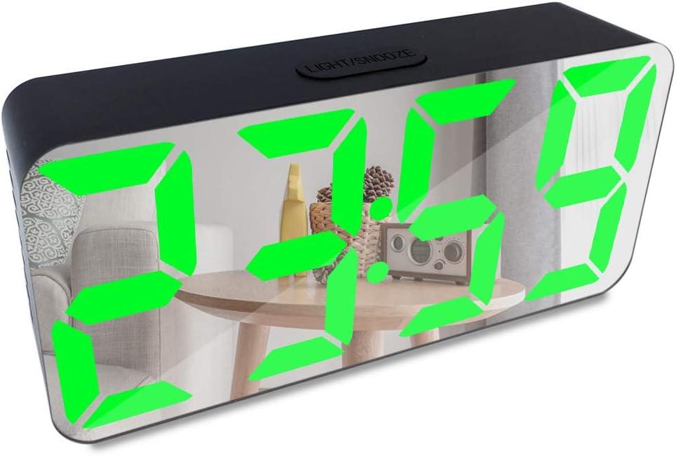 Espejo LED Reloj digital Creativo Usb Teléfono móvil Reloj de carga Espejo Despertador