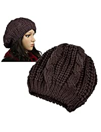 Insten Women Knit Crochet Hat, Brown