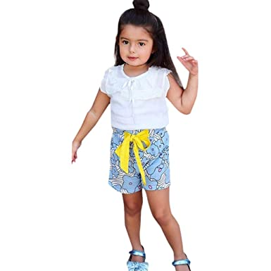 6a465aff4f9 Amazon.com  2 PC Classic Girls Summer Outfits Set