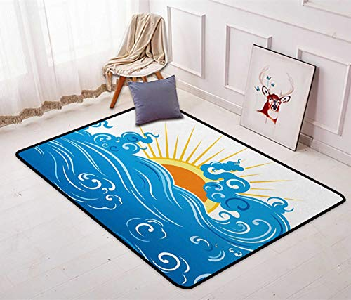 Abstract Large Area Rug Curved Ocean Waves with Sun Rising with Vibrant Sharp Rays Seascape Art Printed Sofa Mats Chair Rug Floor Carpets 4'7'' x 5'4'' Blue Yellow Orange