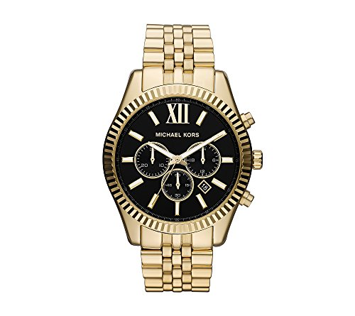 Michael Kors Goldtone Lexington Watch With Black Dial