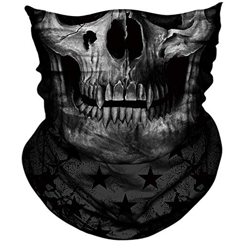 AXBXCX 3D Skull Skeleton Neck Gaiter Face Mask for Hunting Fishing Motorbike Motorcycle Running Cycling Riding Skateboard Skiing Powersports Halloween Party Music Festivals Raves Pl180877]()