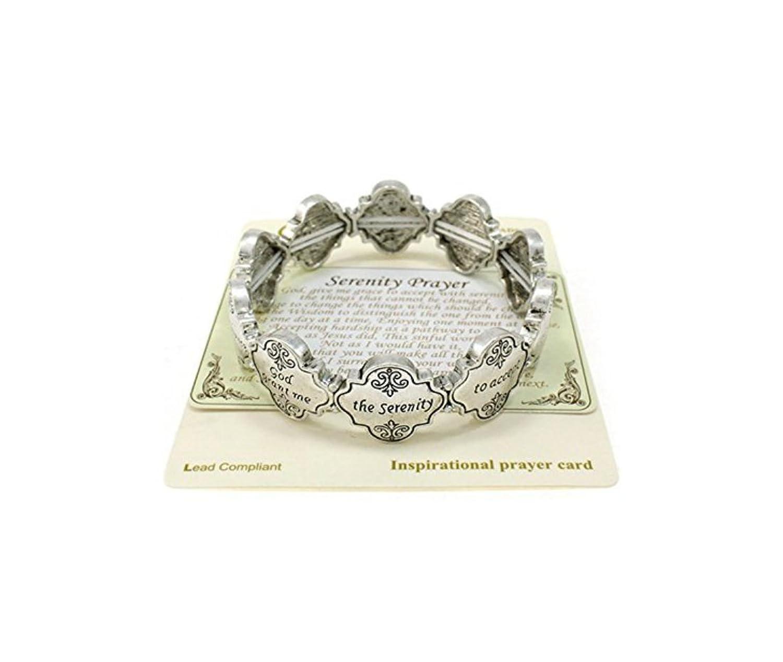 """""""Serenity Prayer"""" Engraved Silver-tone Stretch Bracelet By Athena Brand"""