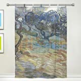 Cheap JSTEL Van Gogh Olive Trees Pattern Floral Print Tulle Voile Door Window Room Sheer Curtain Drape 1 Panel Scarf Valances Wide Width Gauze Curtain for Bedroom 55 x 78 Inch , Single panel
