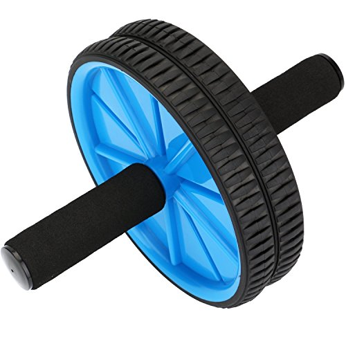 REEHUT Ab Roller Wheels With Knee Pad - The Exercise Wheels with Dual wheels and Comfy Foam Handles - Easy Assembly, Great for Abdominal Workout(Blue) (Arms Sliding Shaft)