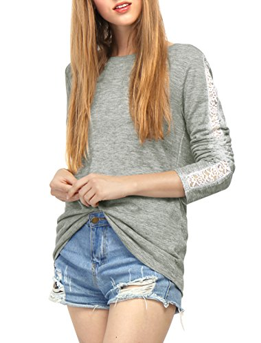 Allegra K Women's Round Neck Lace Panel Long Sleeves T-Shirt Grey - 18 Round Panel