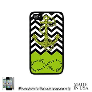 Anchor Live the Life You Love Infinity Quote - Apple Green White Chevron with Anchor iPhone 5C Hard Case - BLACK by Unique Design Gifts [MADE IN USA]