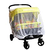 Baby Mosquito Mesh Insect Bug Netting Buggy Cover for Twin Double Jogging - Pushchairs - Tandem Strollers - Prams - Bassinet and Car Seats - Fly Screen Netting Provides Complete Children Protection