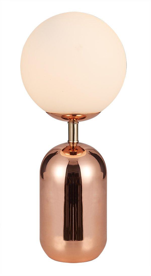 Tischleuchte Globe aus Glas Opaline mit eine Finish Metall goldfarben – Retro – Globe Gold